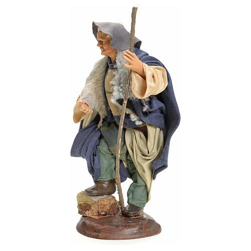 Neapolitan Nativity figurine, man with stick, 18 cm 2