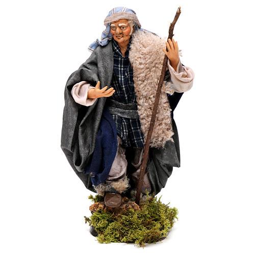 Neapolitan Nativity figurine, man with stick, 18 cm 1