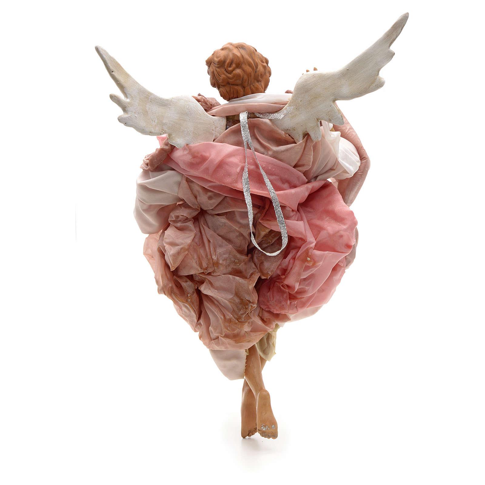 Ange rose terre cuite crèche Napolitaine 45 cm 4