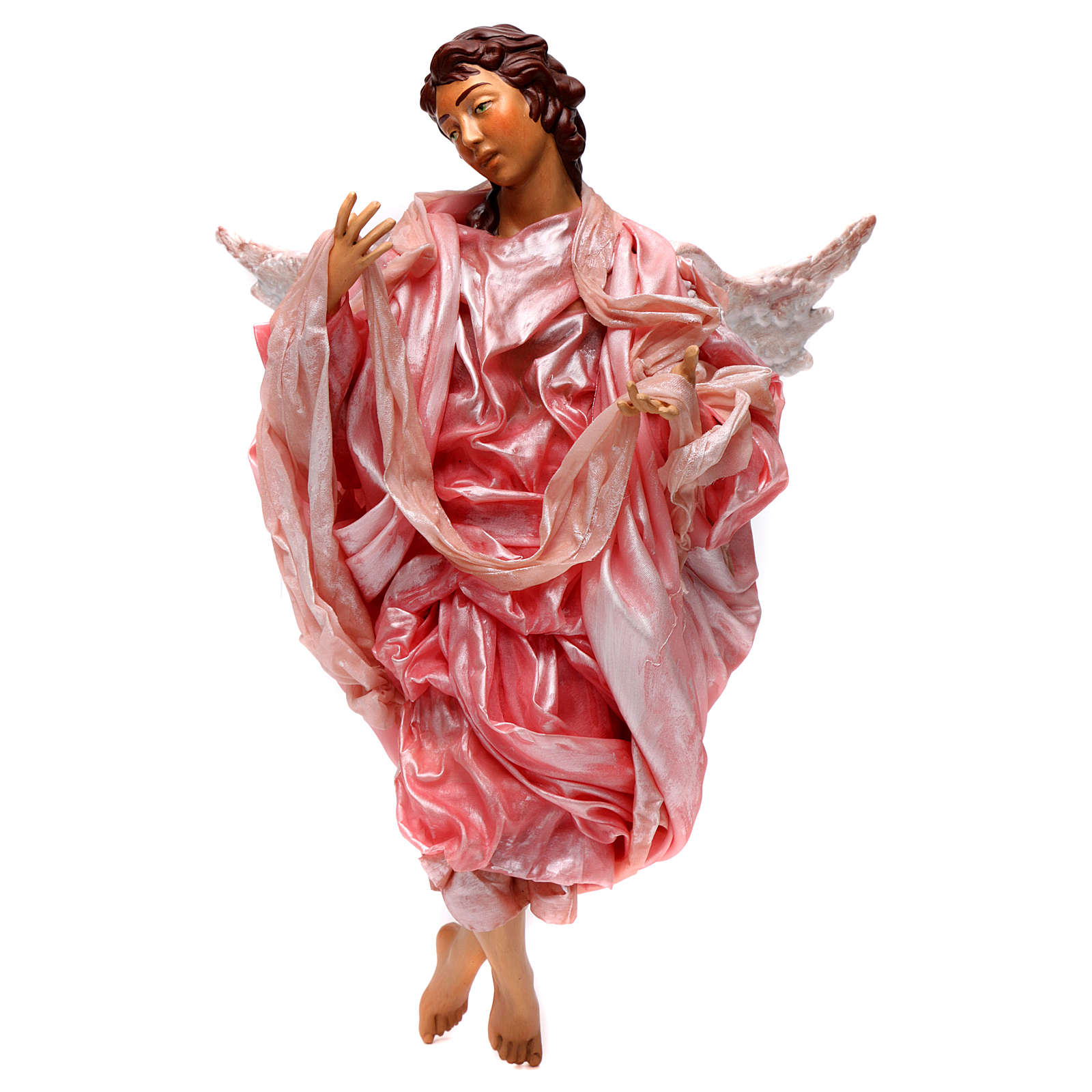Angelo rosa terracotta presepe napoletano 45 cm 4