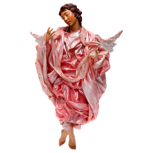 Angelo rosa terracotta presepe napoletano 45 cm 1