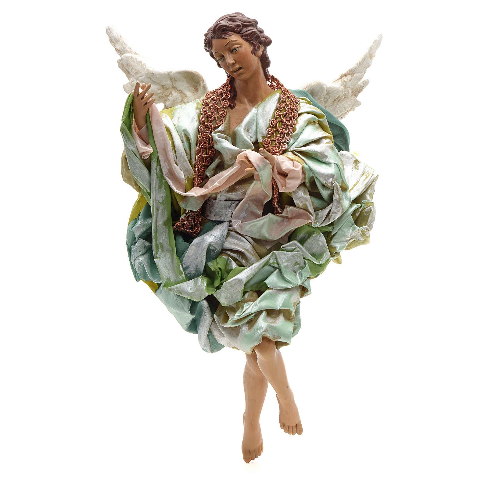 Ángel verde terracota pesebre napolitano 45 cm 4