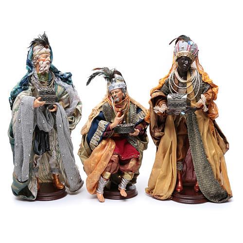 Neapolitan Nativity figurine, three wise kings, 45 cm 1