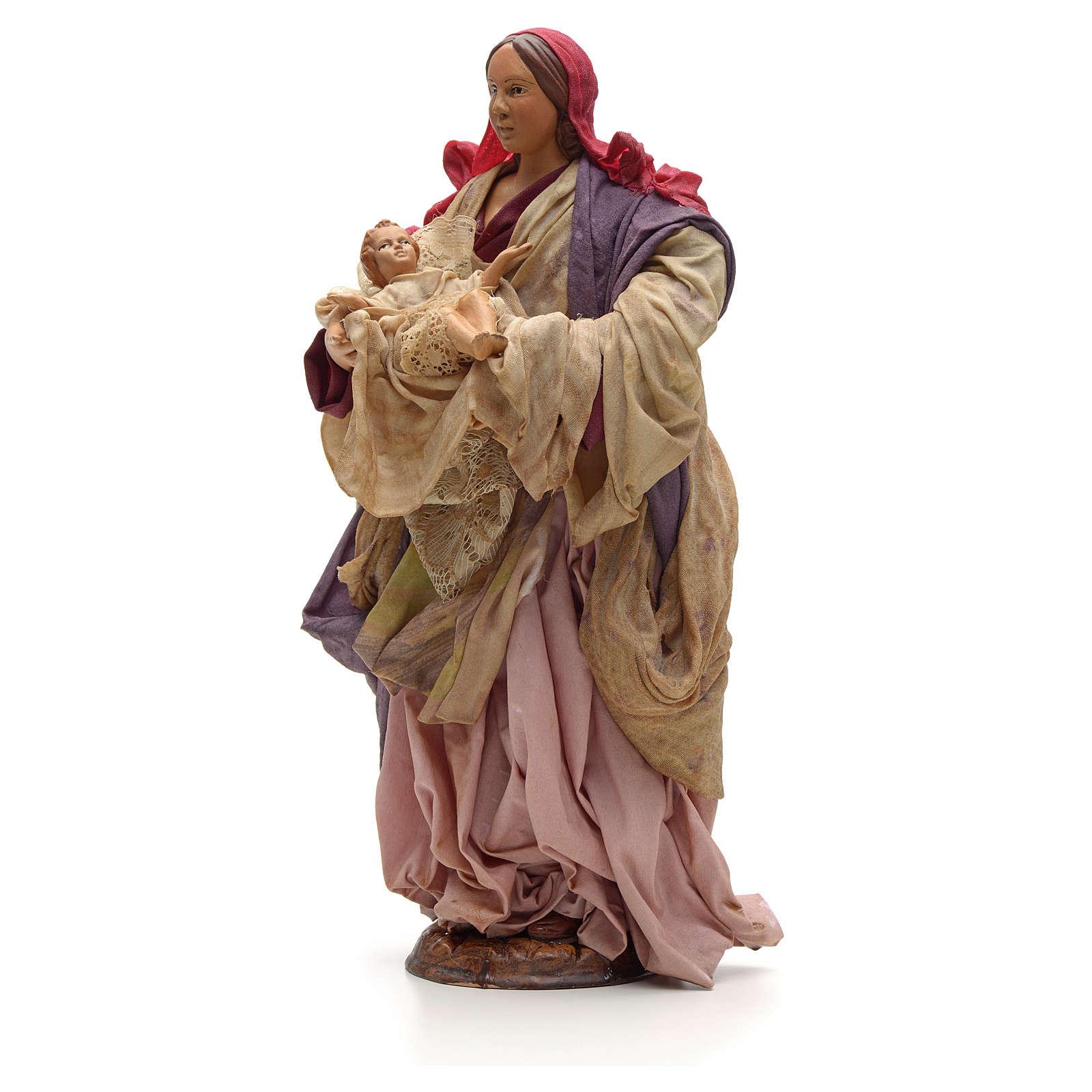 Donna con bimbo in braccio 30cm presepe napoletano 4