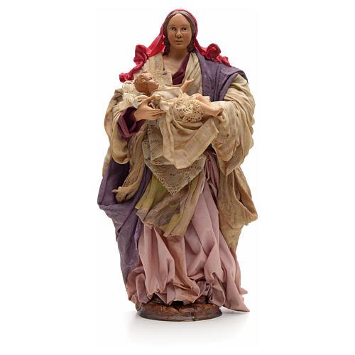 Donna con bimbo in braccio 30cm presepe napoletano 1