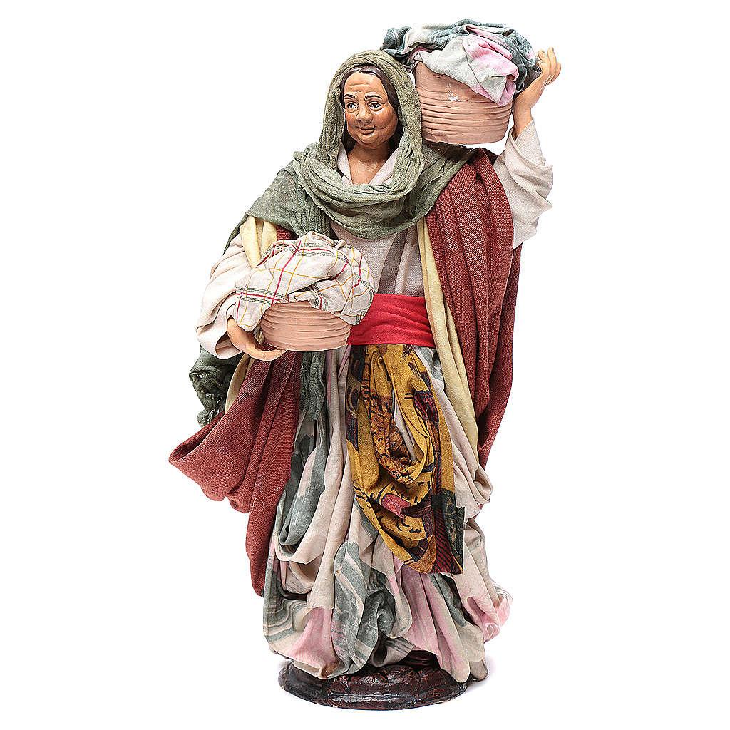 Mujer con cesta de paños 30cm belén napolitano 4