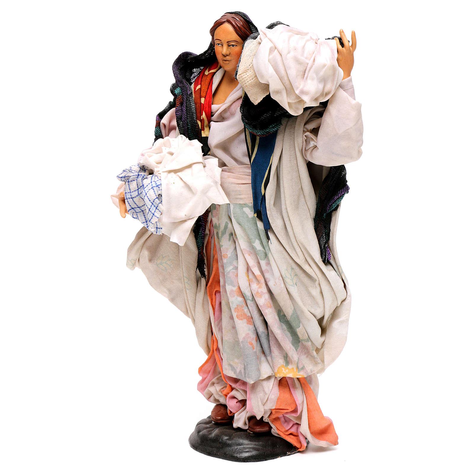 Donna con cesto di panni 30 cm presepe napoletano 4