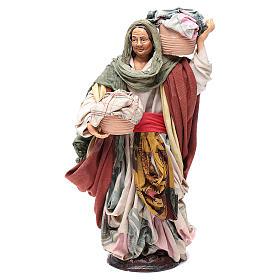 Donna con cesto di panni 30 cm presepe napoletano s1