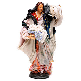 Donna con cesto di panni 30 cm presepe napoletano s4