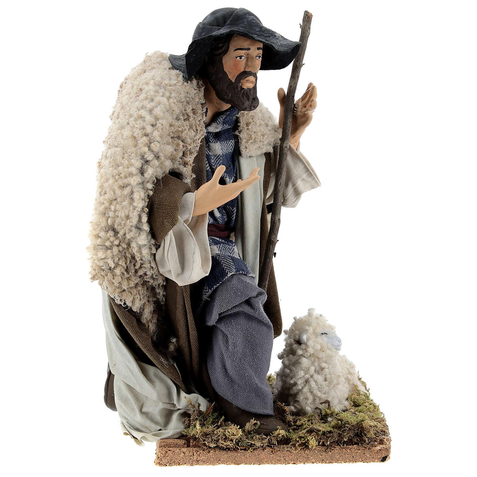 Neapolitan Nativity figurine, kneeling shepherd, 30 cm 4