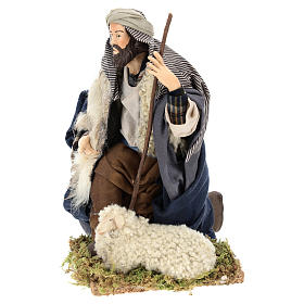 Neapolitan Nativity figurine, kneeling shepherd, 30 cm s7