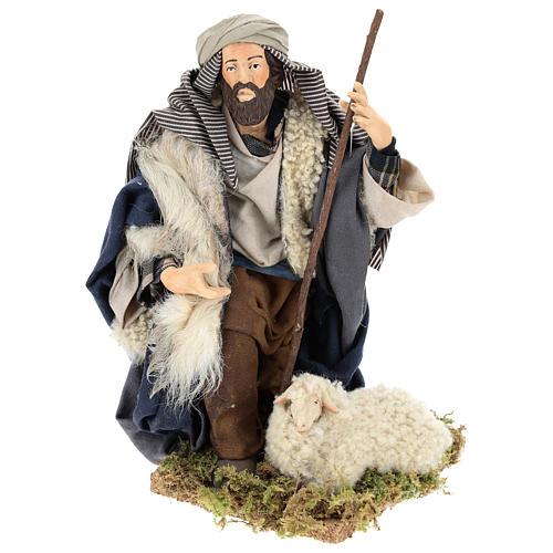 Neapolitan Nativity figurine, kneeling shepherd, 30 cm 5