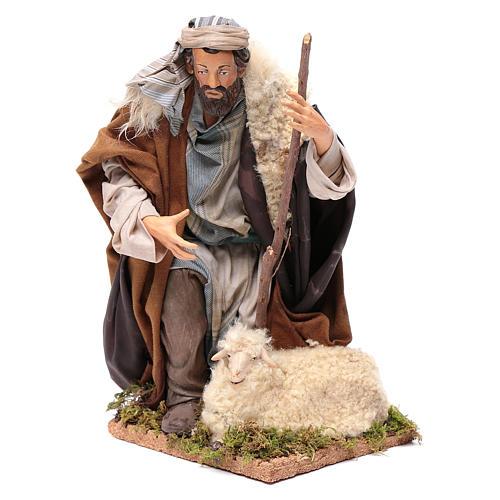Neapolitan Nativity figurine, kneeling shepherd, 30 cm 1