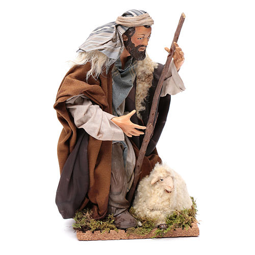 Neapolitan Nativity figurine, kneeling shepherd, 30 cm 3