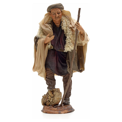 Neapolitan Nativity figurine, shepherd with stick, 30 cm 1
