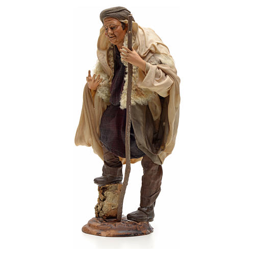 Neapolitan Nativity figurine, shepherd with stick, 30 cm 2