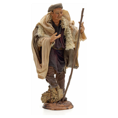 Neapolitan Nativity figurine, shepherd with stick, 30 cm 4