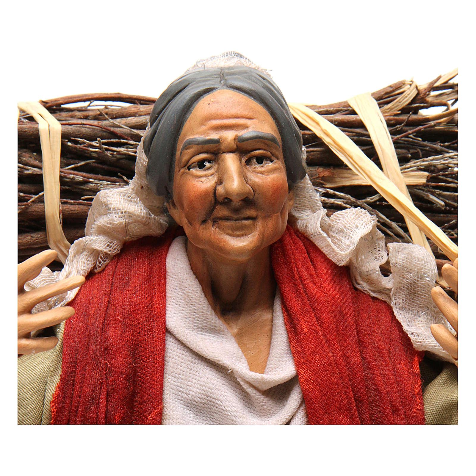 Neapolitan Nativity figurine, young woman with wood bundle, 30cm 4