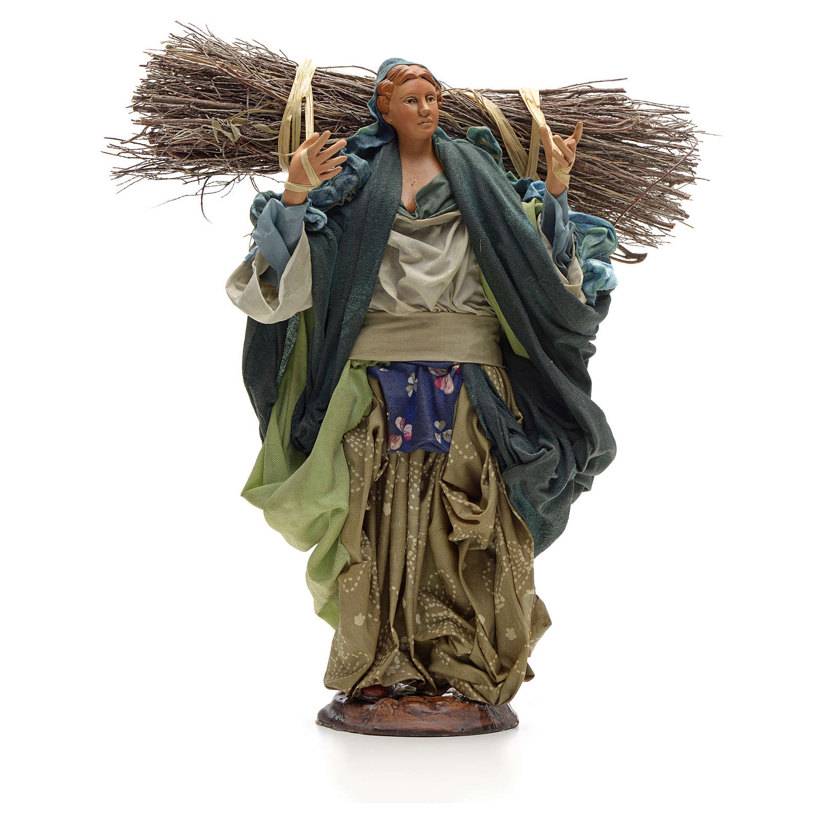 Neapolitan Nativity figurine, young woman with wood bundle, 30cm 4