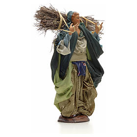 Neapolitan Nativity figurine, young woman with wood bundle, 30cm s4