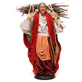 Neapolitan Nativity figurine, young woman with wood bundle, 30cm s1