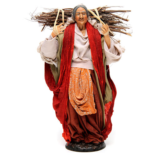 Neapolitan Nativity figurine, young woman with wood bundle, 30cm 1