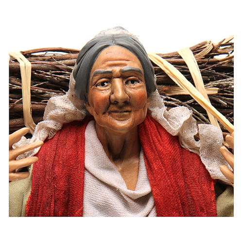 Neapolitan Nativity figurine, young woman with wood bundle, 30cm 2