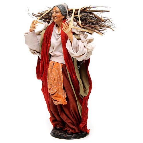 Neapolitan Nativity figurine, young woman with wood bundle, 30cm 3