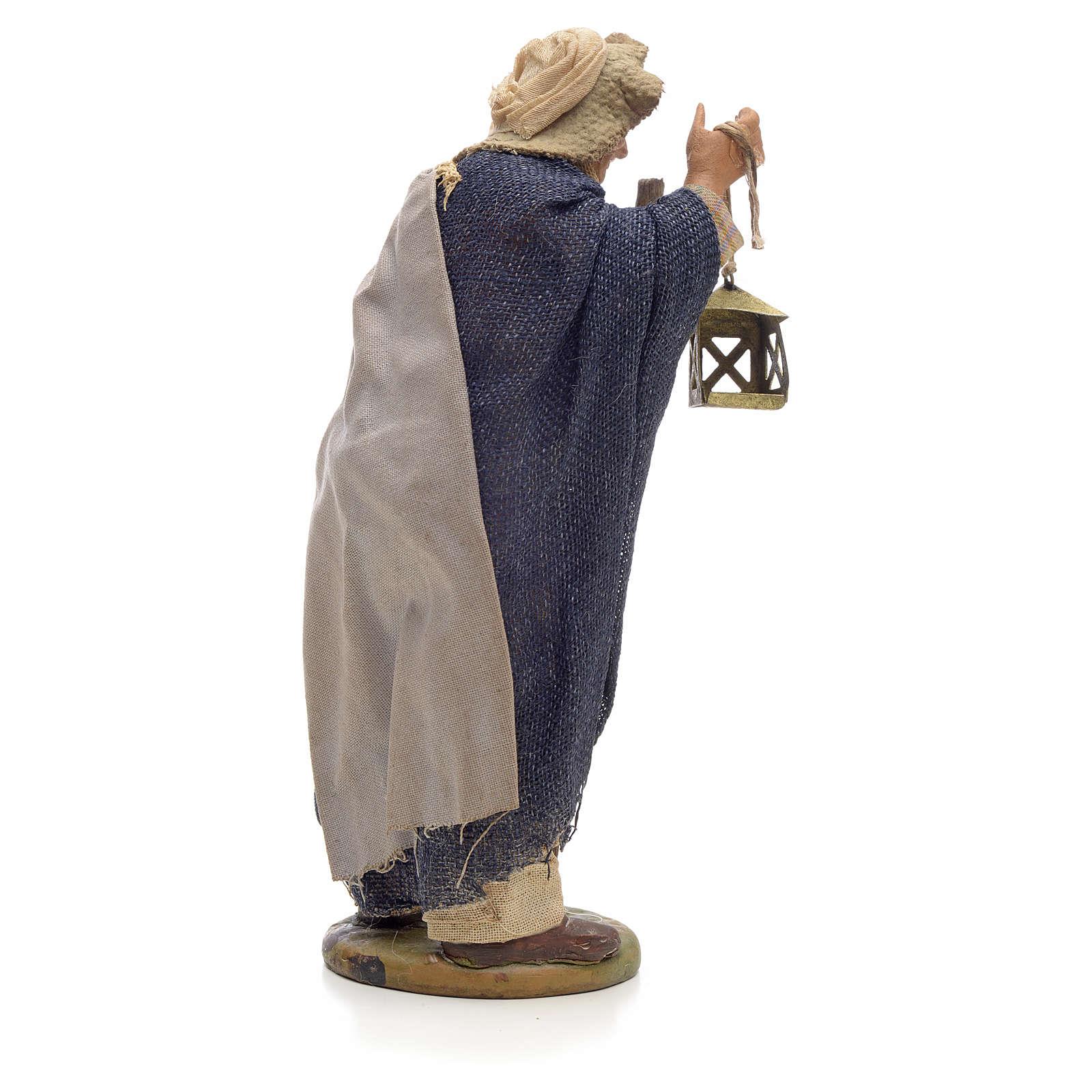 Uomo con lanterna e bastone 14 cm presepe Napoli 4