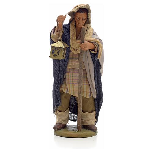 Uomo con lanterna e bastone 14 cm presepe Napoli 1
