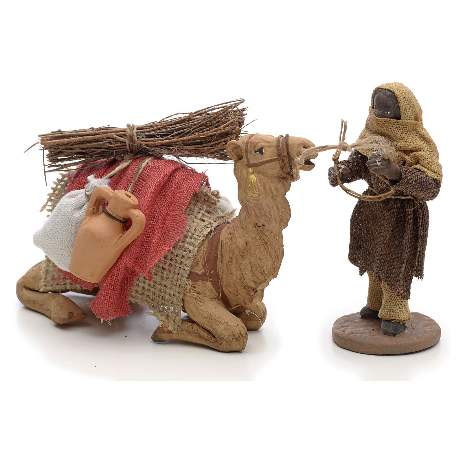 Neapolitan Nativity figurine, camel driver and camel 10cm 4
