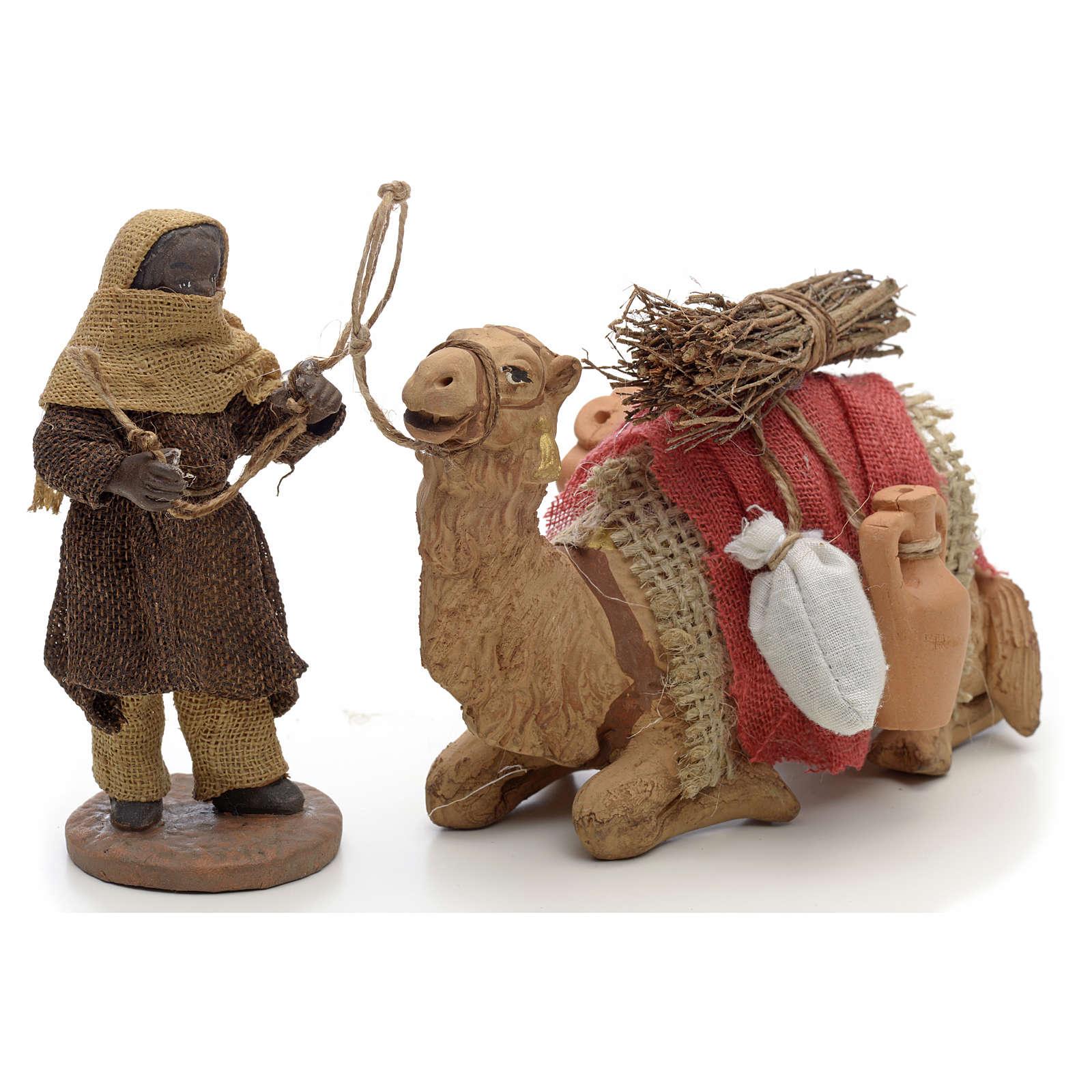 Neapolitan Nativity figurine, camel driver and camel 10cm 4