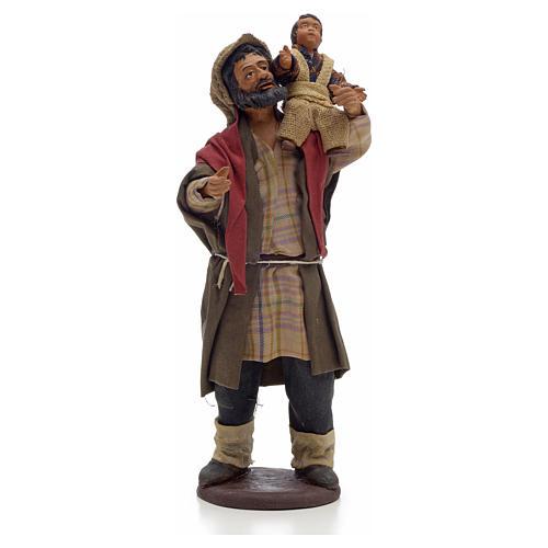 Neapolitan Nativity figurine, man holding baby 14cm 1