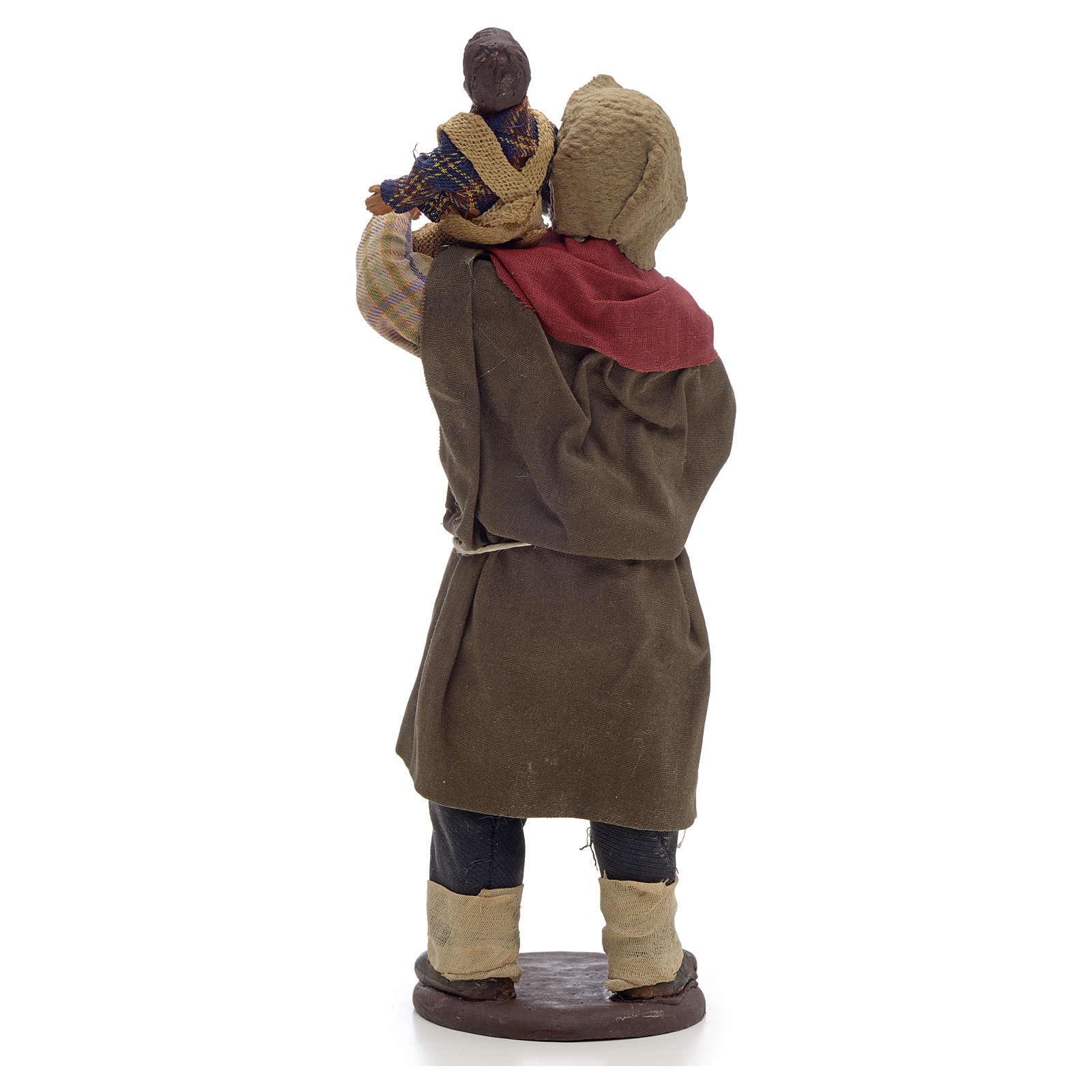Hombre con niño en el hombro 14cm Pesebre Nápoles 4