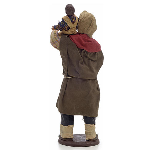 Neapolitan Nativity figurine, man holding baby 14cm 2