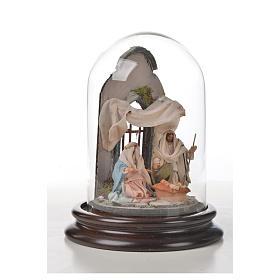 Sainte Famille terre cuite style arable 11x16cm cloche verre s7