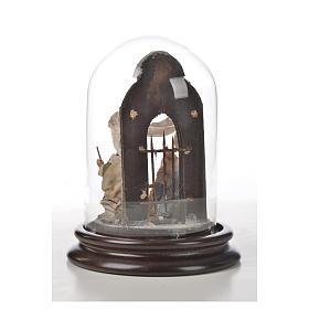 Natività Napoli terracotta stile arabo 11X16 cm campana di vetr s6