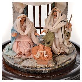 Święta Rodzina terakota styl arabski 11x16 cm szklany klosz s3