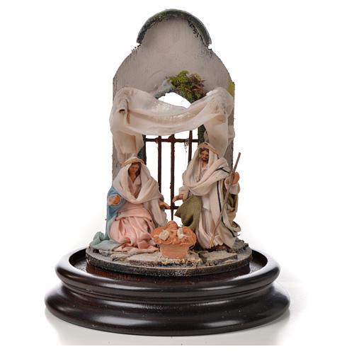 Święta Rodzina terakota styl arabski 11x16 cm szklany klosz 2