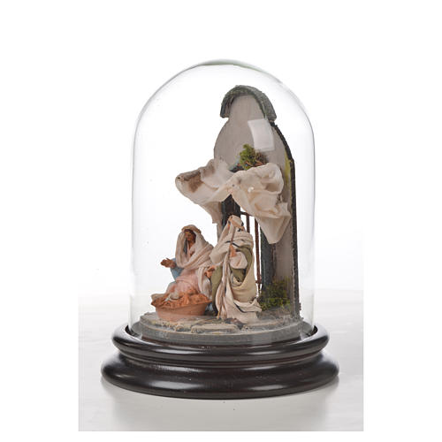 Święta Rodzina terakota styl arabski 11x16 cm szklany klosz 5