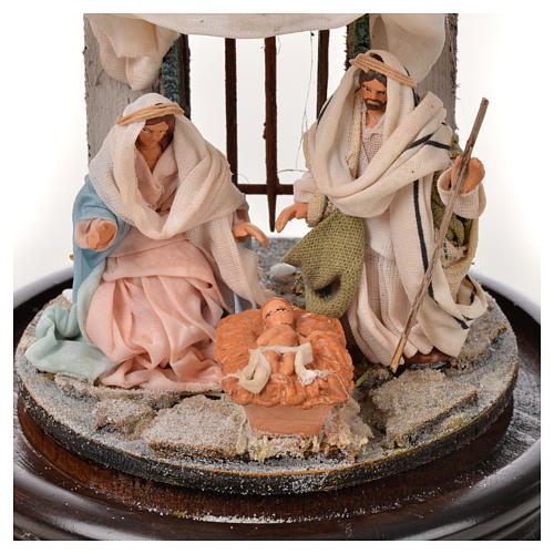 Neapolitan Nativity, Arabian style in glass dome 11x16cm 3