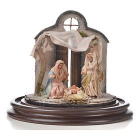 Neapolitan Nativity, Arabian style in glass dome 20x20cm s2