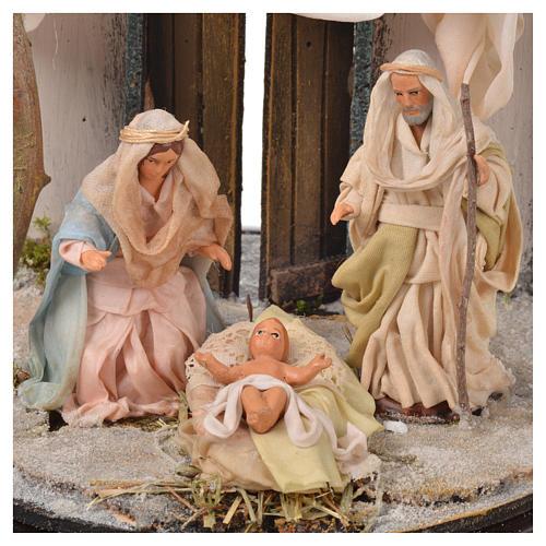 Neapolitan Nativity, Arabian style in glass dome 20x20cm 3