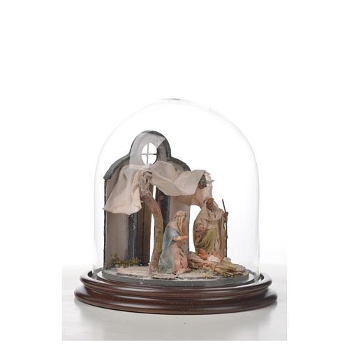 Neapolitan Nativity, Arabian style in glass dome 20x20cm 7