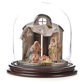 Natività Napoli terracotta stile arabo 20x20 cm campana di vetr s1