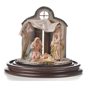 Natività Napoli terracotta stile arabo 20x20 cm campana di vetr s2