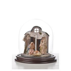Natività Napoli terracotta stile arabo 20x20 cm campana di vetr s4