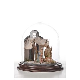 Natività Napoli terracotta stile arabo 20x20 cm campana di vetr s7