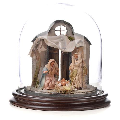 Natività Napoli terracotta stile arabo 20x20 cm campana di vetr 1