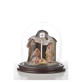 Neapolitan Nativity, Arabian style in glass dome 20x20cm s4